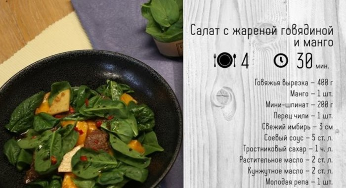 Салаты с жареным мясом рецепты
