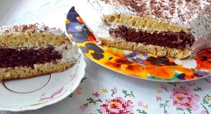 Торт бисквитный со взбитыми сливками фото рецепт