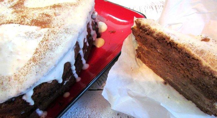 Торт из какао в один корж
