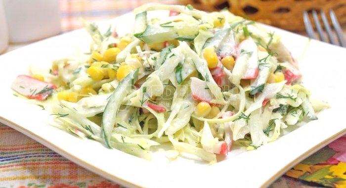 Салат из свежей капусты и крабовых палочек рецепт с очень вкусный