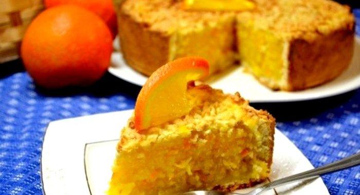 Открытый пирог с апельсинами простой рецепт
