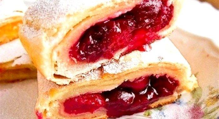 штрудель вишнями пошаговый рецепт фото