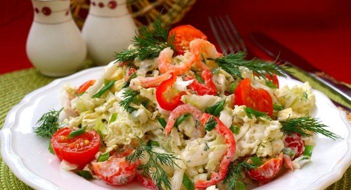 Салат из креветок и пекинской капусты рецепт 185