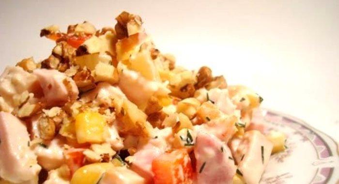 Салат дамский с ананасом рецепт с