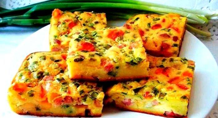 Пирог из сыра и ветчины с