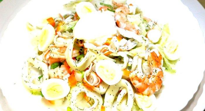 Салат из кальмара с креветками рецепт