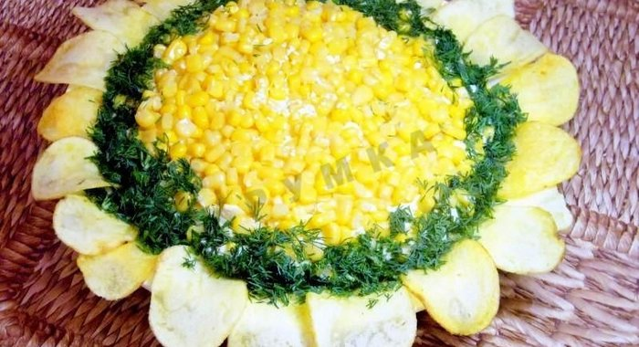 Подсолнух салат рецепт с фото с курицей