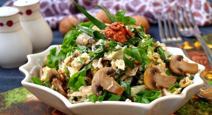 Салаты с грибами и курицей рецепт с пошагово