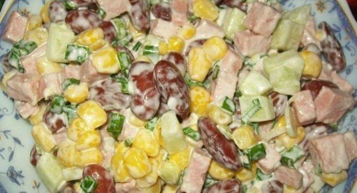 Салат фасолью ветчиной рецепт фото