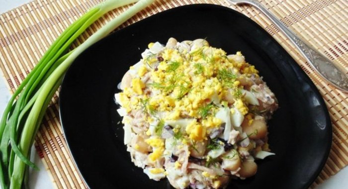 Салат с фасолью пошаговый с фото