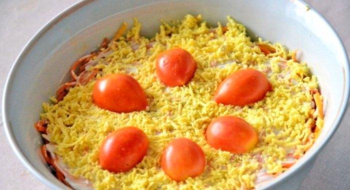 Слоеные салаты с корейской морковкой рецепты с