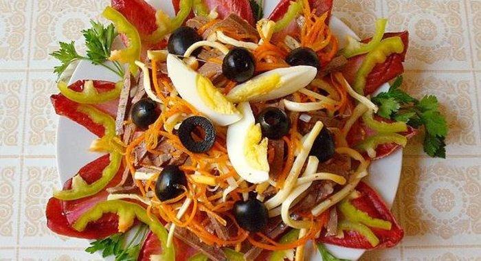 Рецепт салата из сердца сыра