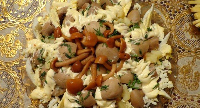 Как приготовить салат с опятами