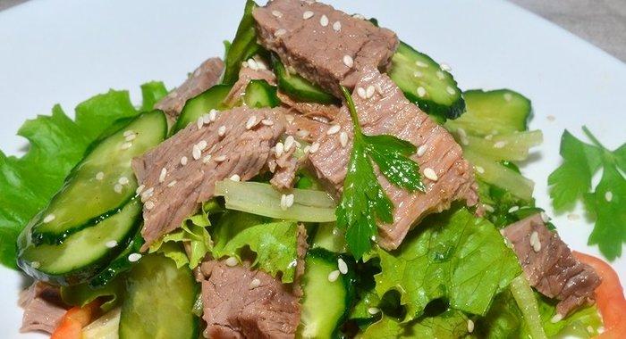 Рецепт простого салата с говядиной
