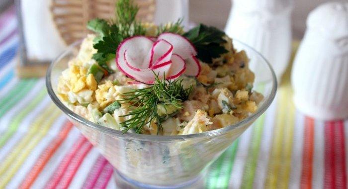 Салат с консервированной горбушей рецепт с пошагово в