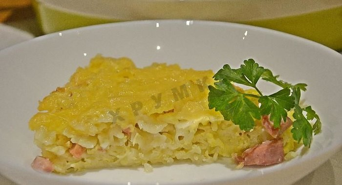 Запеканка из макарон с колбасой пошаговое