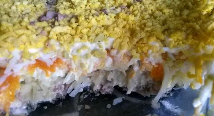 Рыбный салат из консервов мимоза рецепт