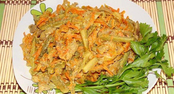 как приготовить капусту с печенью куриной