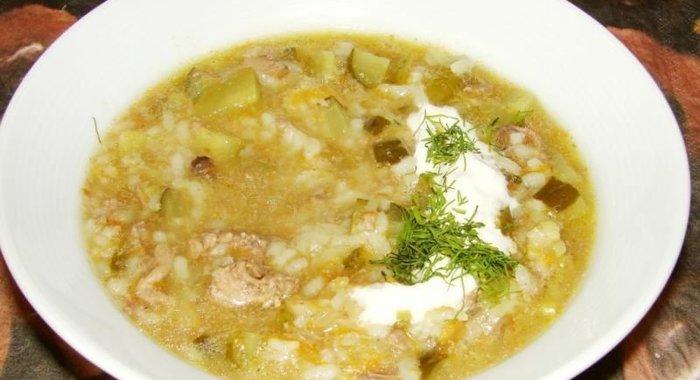 Рассольник с рисом и маринованными огурцами рецепт с пошагово в