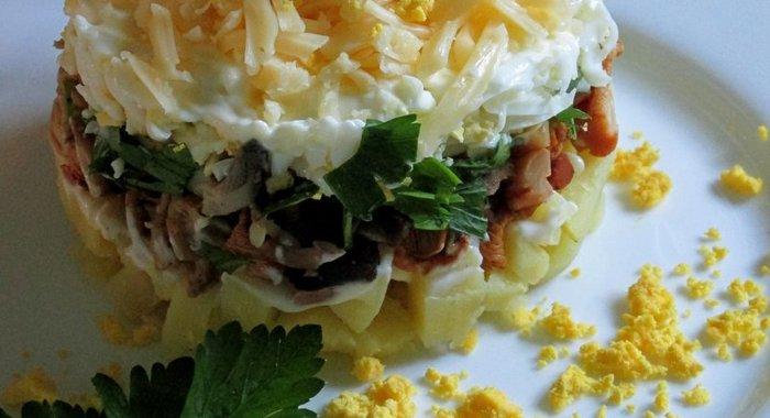 Простой слоеный салат фото