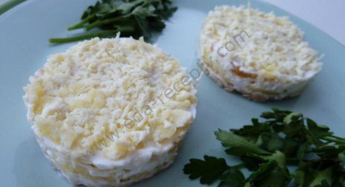 Салат мимоза с яблоками рецепт
