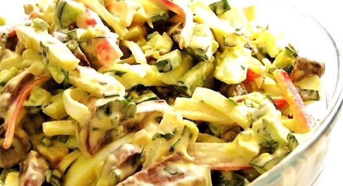 Салаты рецепты простые и вкусные с грибами и ветчиной