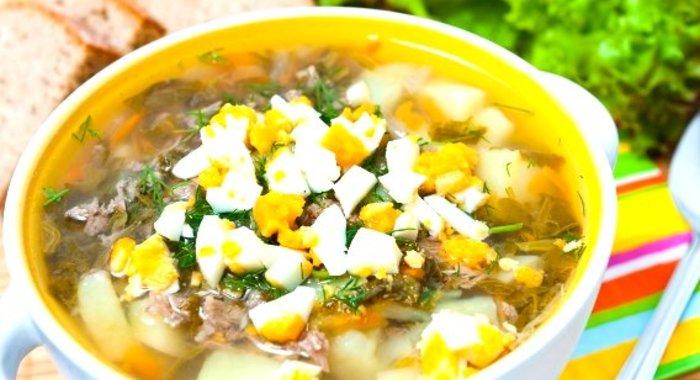 щавельный суп с мясом и яйцом пошаговый рецепт
