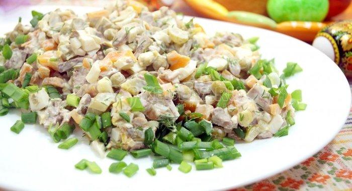 Простые салаты из печени куриной