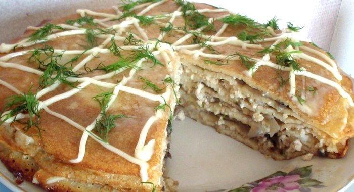Блинный торт закусочный рецепт пошагово в домашних условиях